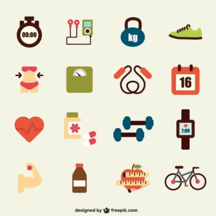 Sports Flat Icons Free Vector
