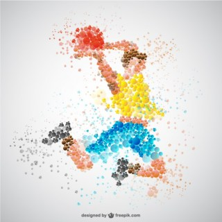 Sports Player in Competition Free Vector