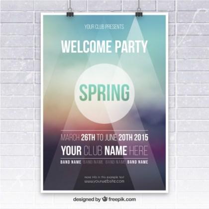 Spring Party Poster Free Vector