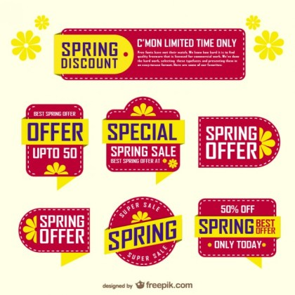 Spring Sale Stickers Free Vector