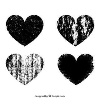 Stamped Hearts Free Vector