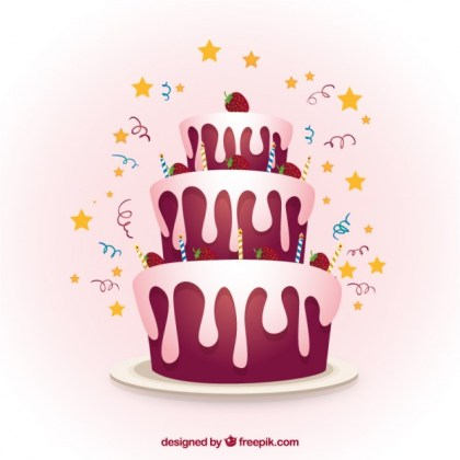 Strawberry Birthday Cake Free Vector