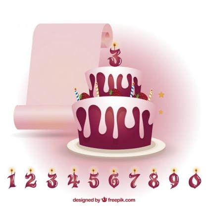 Strawberry Birthday Cake with Candles Numbers Free Vector