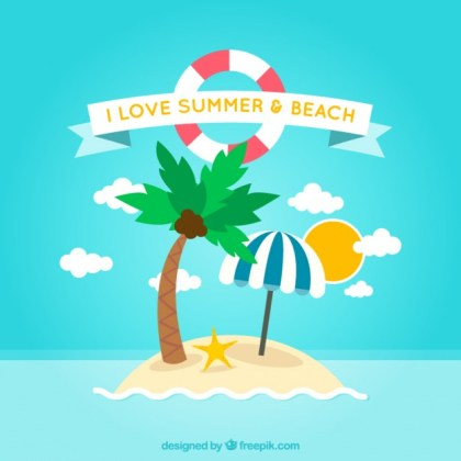 Summer and Beach Background Free Vector