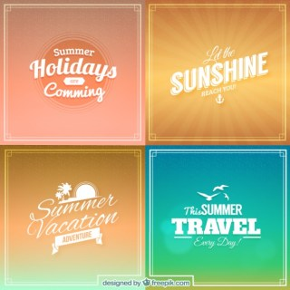 Summer Backgrounds in Lettering Style Free Vector