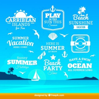 Summer Badges Collection Free Vector
