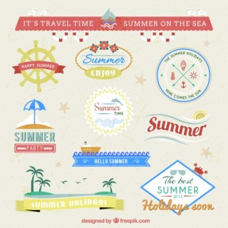 Summer Badges Pack Free Vector