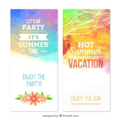 Summer Banners in Watercolor Style Free Vector