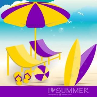 Summer Beach Illustration Free Vector