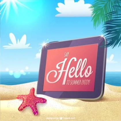 Summer Hello Message Card Free Vector