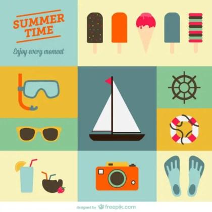 Summer Holiday Flat Designs Free Vector