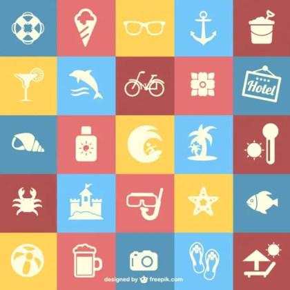 Summer Holidays Flat Icons Free Vector