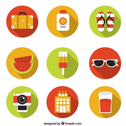 Summer Holidays Icons Free Vector