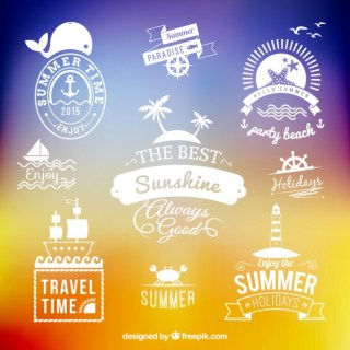 Summer Holidays Labels Free Vector