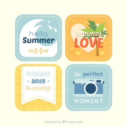 Summer Labels Collection Free Vector