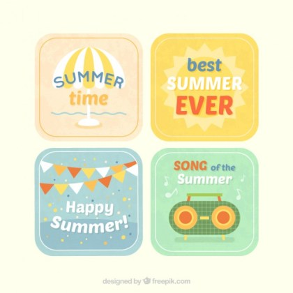 Summer Labels Pack Free Vector