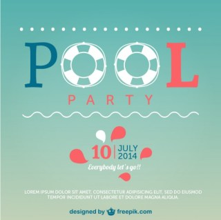Summer Pool Party Poster Free Vector