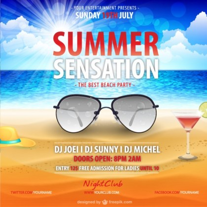 Summer Poster Template Free Download Free Vector