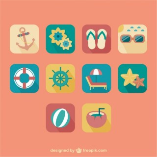 Summer Retro Icons Free Vector