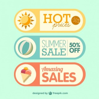 Summer Sale Labels Free Vector