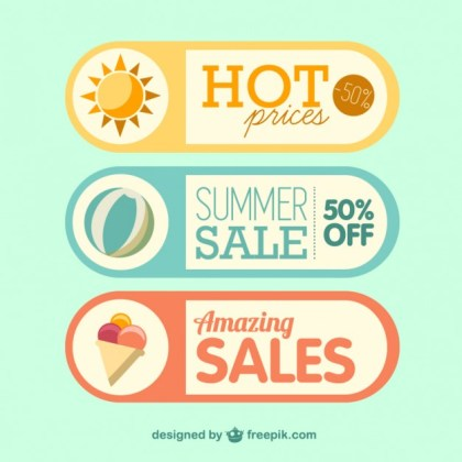 Summer Sale Labels Free Vector