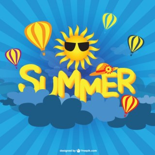 Summer Sun and Air Baloons Background Free Vector