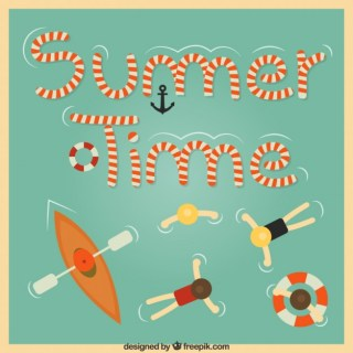 Summer Time Background in Retro Style Free Vector