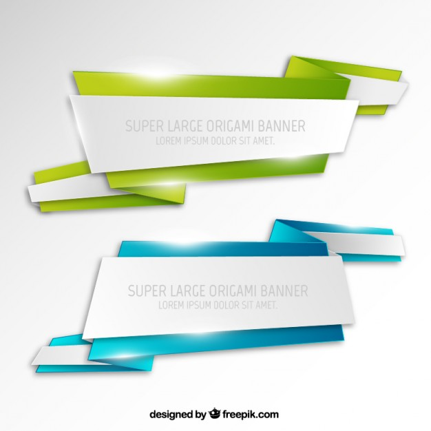 Super Large Origami Banners Free Vector