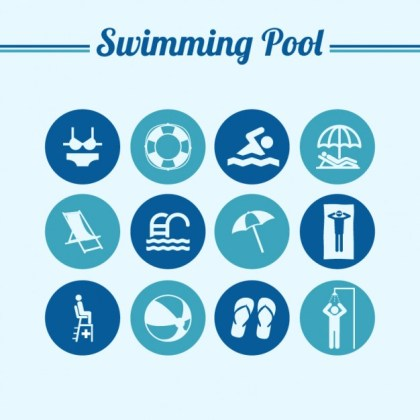 Swiming Pool Round Flat Symbols Free Vector