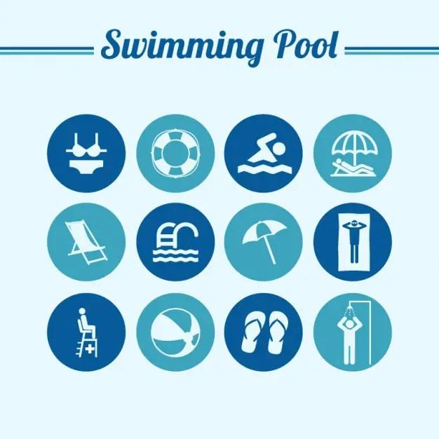 Swiming Pool Round Flat Symbols Free Vector