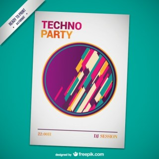 Techno Party Poster Template Free Vector