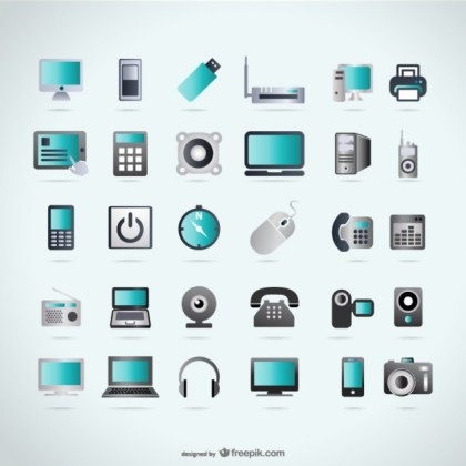 Technology Icons Devices Free Vector
