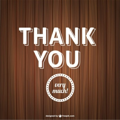 Thank You Typography with Wooden Texture Free Vector