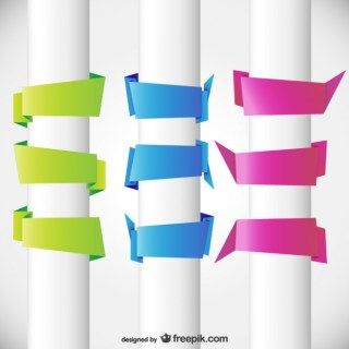 Three Colors Origami Blank Banners Free Vector