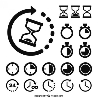 Time and Clocks Icons Free Vector