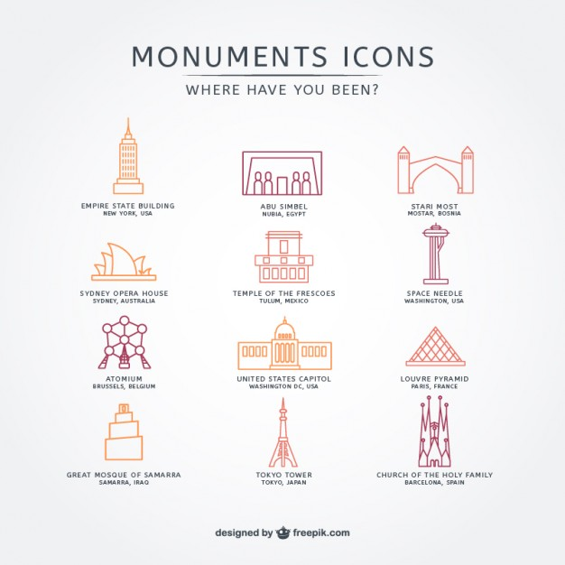 Touristic Attraction Icon Pack Free Vector