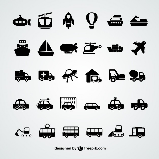 Transport Icons Collection Free Vector