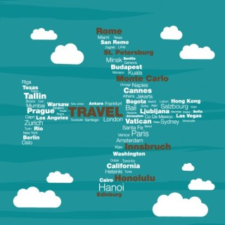 Travel Concept Typographyc Plane Free Vector