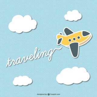 Traveling Cartoon Plane Free Vector