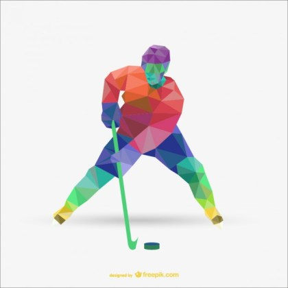 Triangle Abstract of Hockey Player Free Vector
