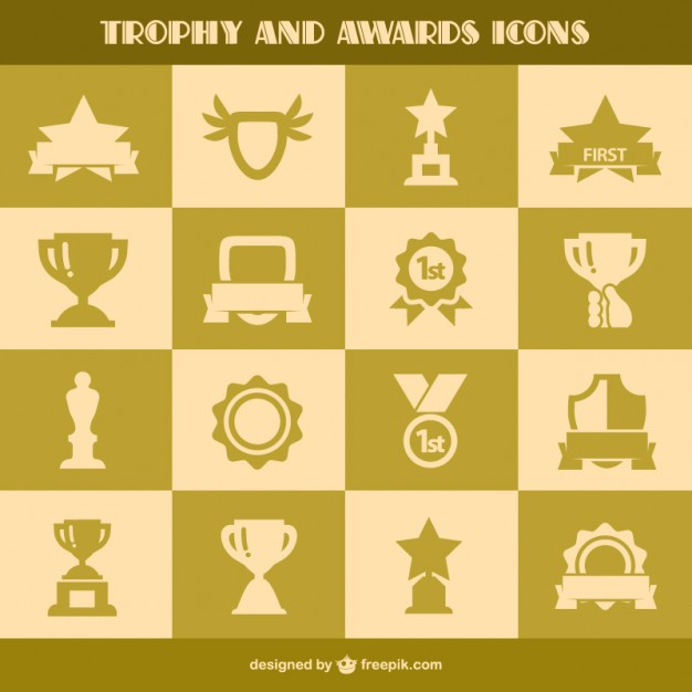 Trophy and Awards Icons Free Vector