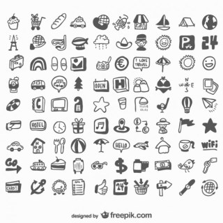 Universal Hand Drawn of Icons Free Vector