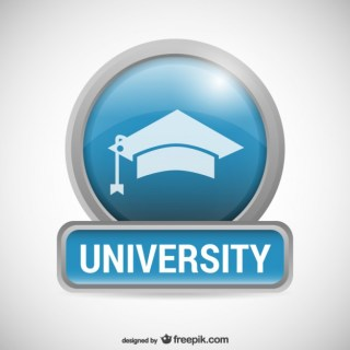 University Logo with Mortarboard Free Vector