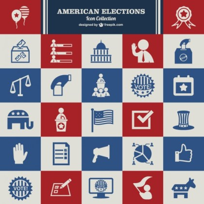 Usa Election of Icons Free Vector