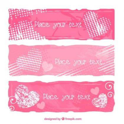 Valentine Banners Free Vector