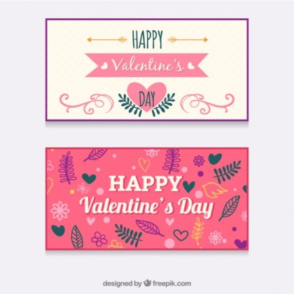 Valentines Day Banners Free Vector