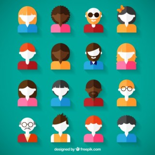 Variety of Avatars in Flat Design Free Vector
