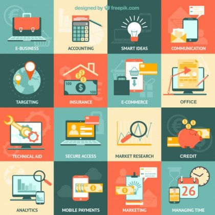 Variety of Business Icons Free Vector