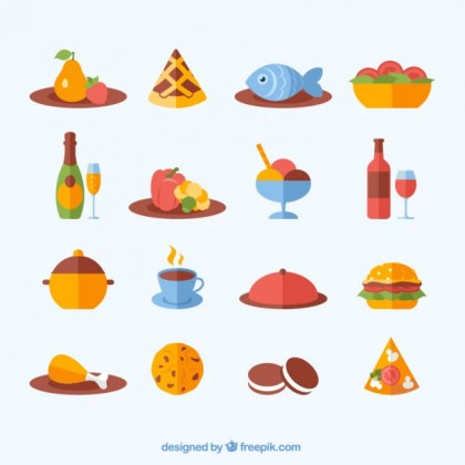 Variety of Food Icons Free Vector