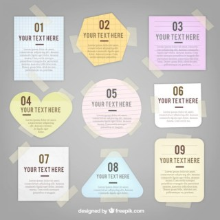 Variety of Notes with Sticky Tape Free Vector
